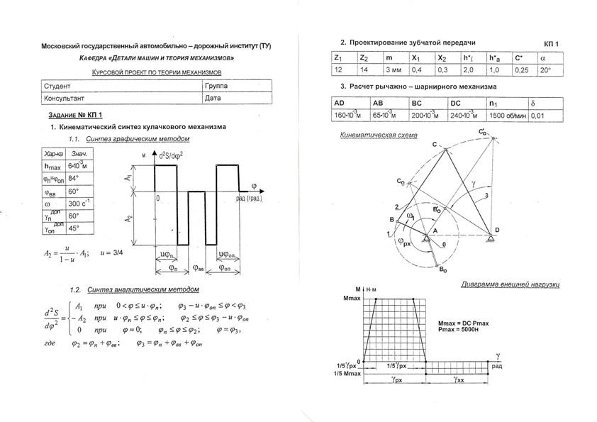 Кафедра Детали машин и теория механизмов Курсовой проект по ТММ КП №1