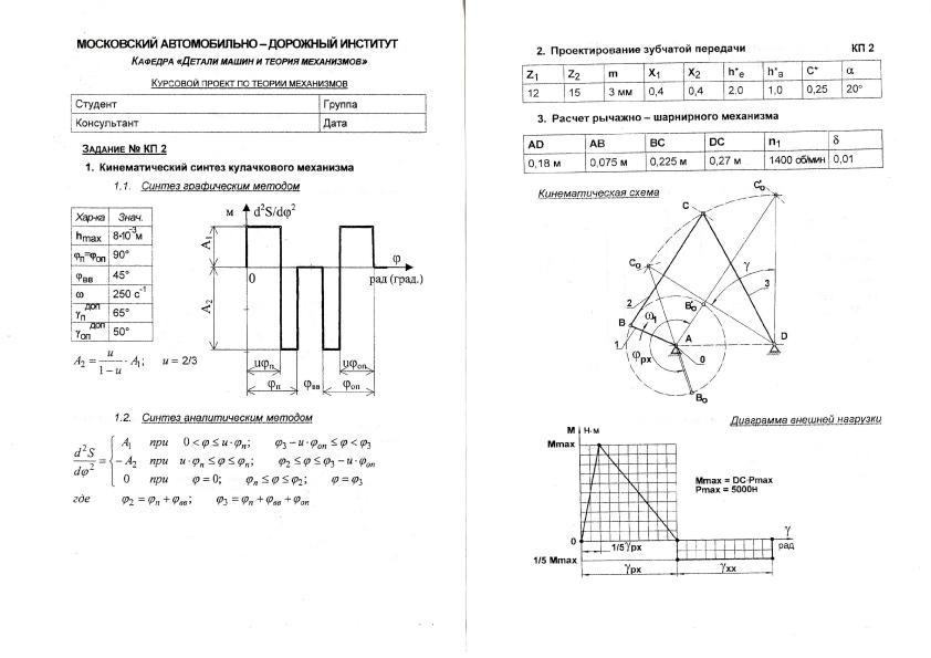 Кафедра Детали машин и теория механизмов Курсовой проект по ТММ КП №2